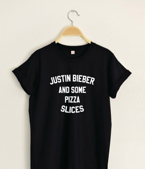 JUSTIN BIEBER and Some Pizza Slices T shirt Adult Unisex Size S 3XL