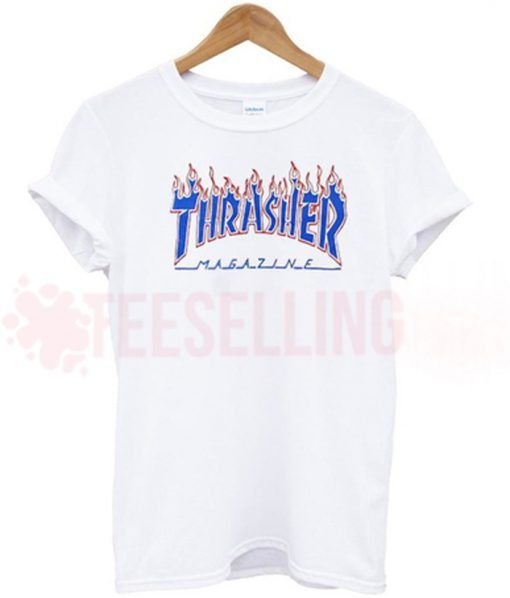Thrasher flame blue T shirt Adult Unisex For men and women Size S 3XL