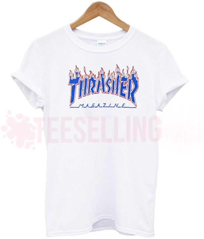 019b0f5d265f Thrasher flame blue T shirt Adult Unisex For men and women Size S 3XL