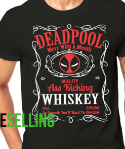 DEADPOOL WHISKEY T-SHIRT ADULT UNISEX