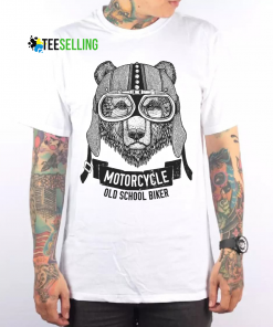 Bear Motorcycle Old School Biker T-shirt