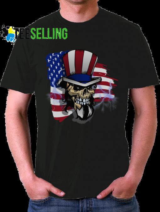 American Flag Skull T Shirt