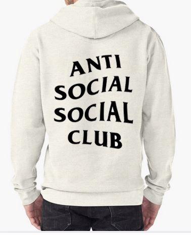 Anti Social Social Club White Hoodie Adult Unisex Size S 3XL