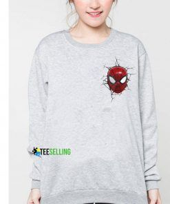 Comic Marvel Face SpiderMan Pocket Cheap Graphic Tees Sweatshirt Unisex