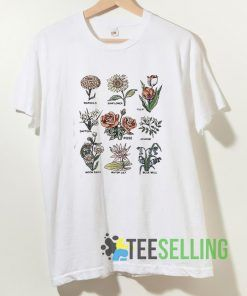 Retro Botanical Flower T shirt Unisex Adult Size S-3XL