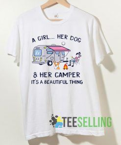 A Girl Her Dog And Her Camper T shirt Unisex Adult Size S-3XL