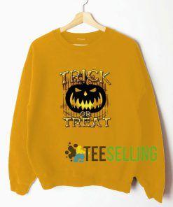 Halloween Trick Or Treat Gold Yellow Sweatshirt Unisex