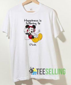 Mickey happiness is listening to Pink T shirt Unisex Adult Size S-3XL