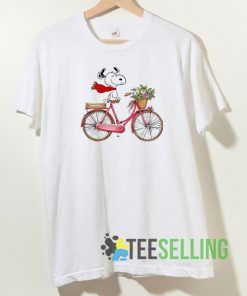 Snoopy Riding Bicycle T shirt Unisex Adult Size S-3XL
