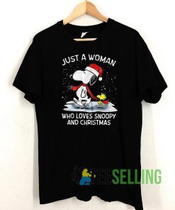Just A Woman Snoopy And Christmas T shirt Adult Unisex Size S-3XL