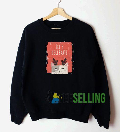 Cat Lets Celebrate Sweatshirt Unisex Adult