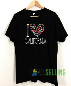 I Love California Colorful Hearts T shirt Adult Unisex Size S-3XL