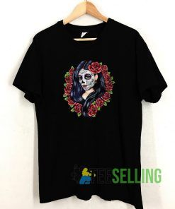 Sugar Skull Girl with Red Roses T shirt Adult Unisex Size S-3XL